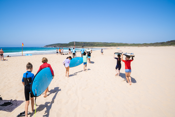 St Mary - St Joseph Catholic Primary School Maroubra - students at the beach for surfing