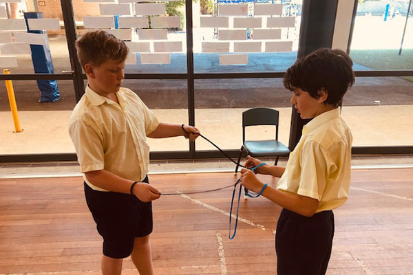 St Mary St Josephs Catholic Primary School Maroubra - students playing with rope puzzles